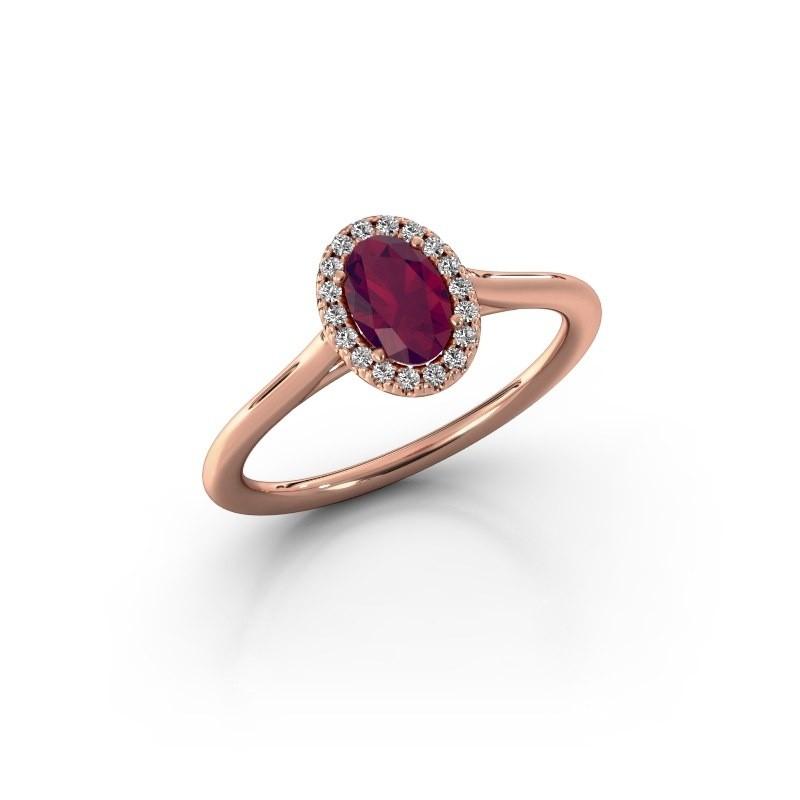 Engagement ring Seline 1 375 rose gold rhodolite 6x4 mm
