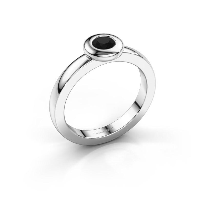 Ring Iris 585 white gold black diamond 0.30 crt