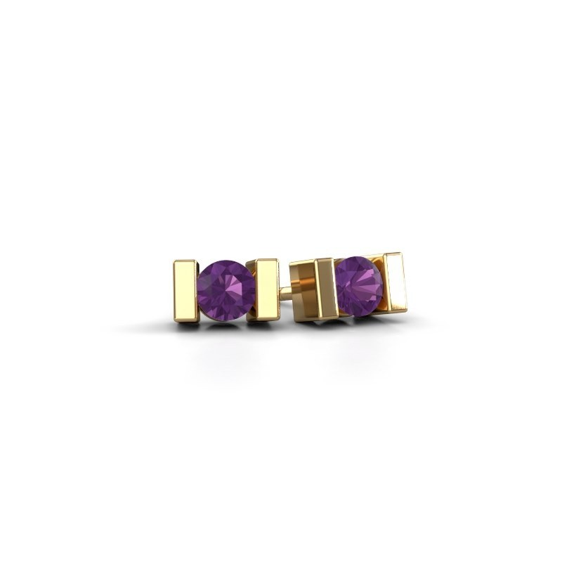 Oorstekers Lieve 585 goud amethist 3.7 mm