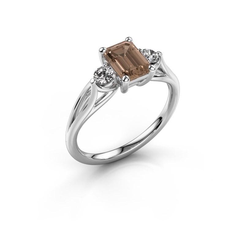 Verlovingsring Amie EME 925 zilver bruine diamant 1.350 crt