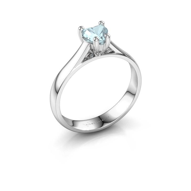 Engagement ring Sam Heart 950 platinum aquamarine 5 mm