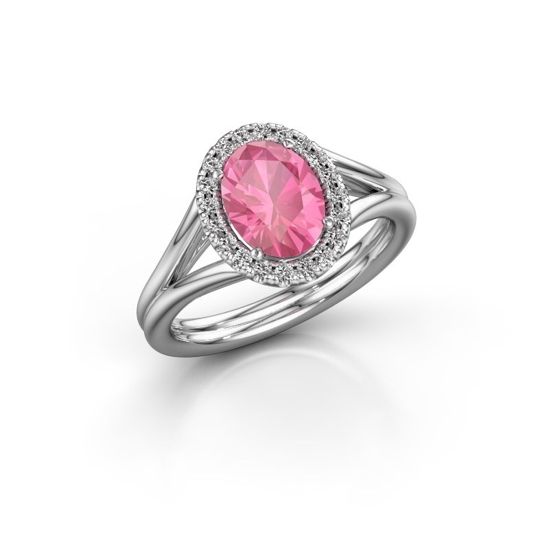 Engagement ring Rachele 1 585 white gold pink sapphire 8x6 mm