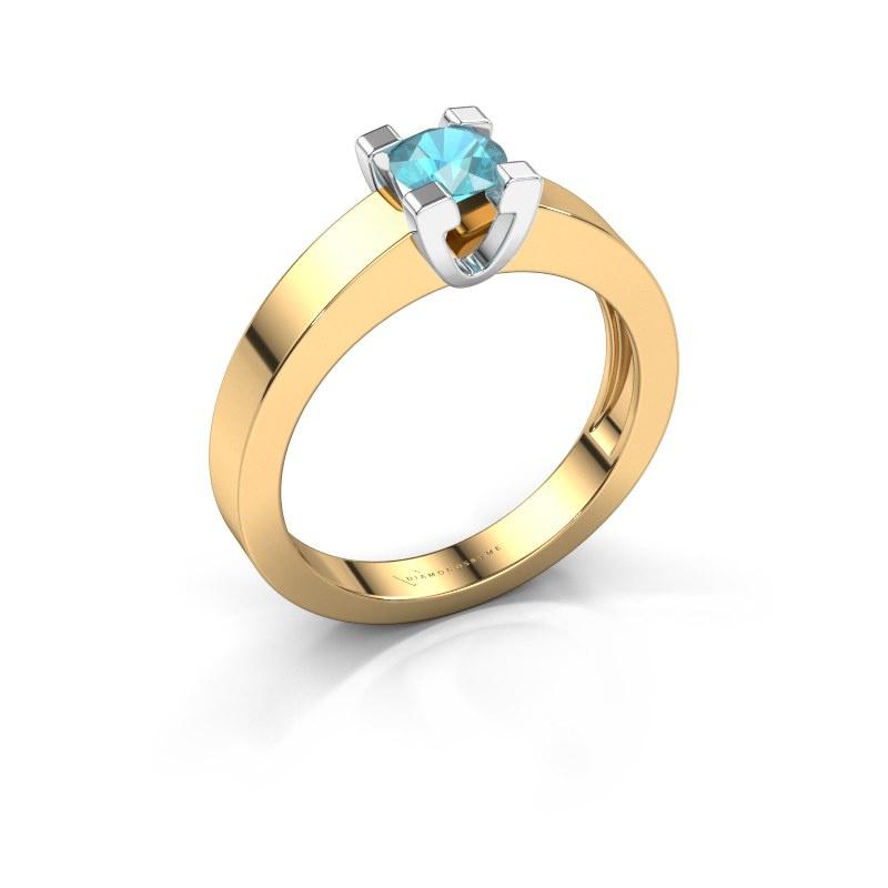 Promise ring Anne 1 585 goud blauw topaas 4.7 mm