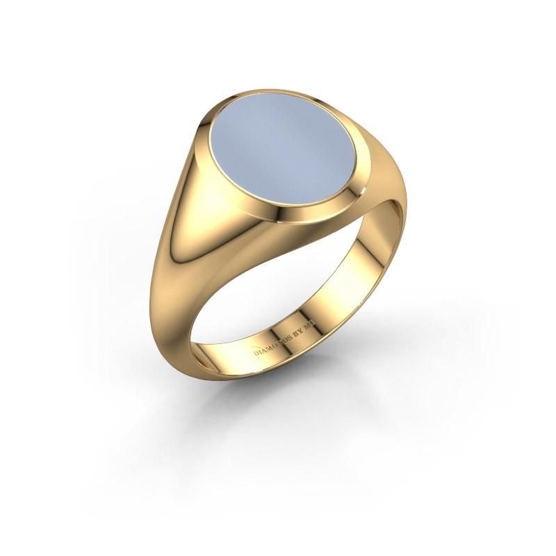 Zegelring Evon 2 585 goud licht blauwe lagensteen 12x10 mm