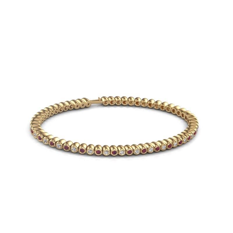 Tennisarmband Trix 375 goud rhodoliet 2 mm
