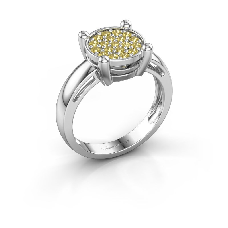 Ring Dina 585 white gold yellow sapphire 1.6 mm