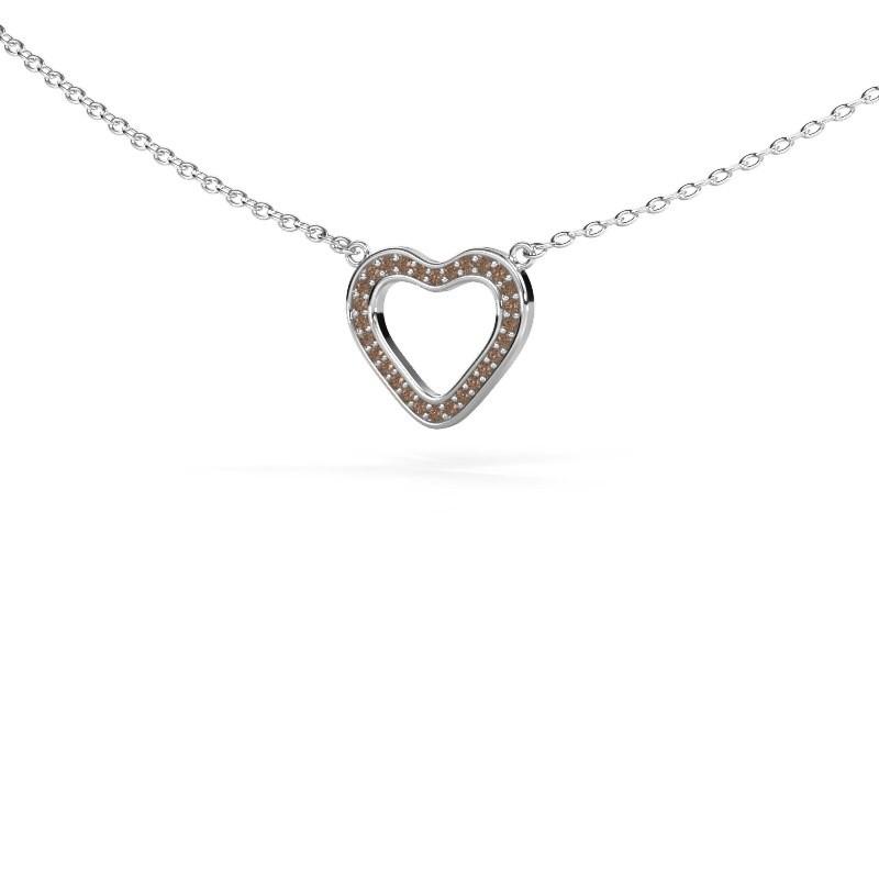 Hanger Heart 3 585 witgoud bruine diamant 0.07 crt