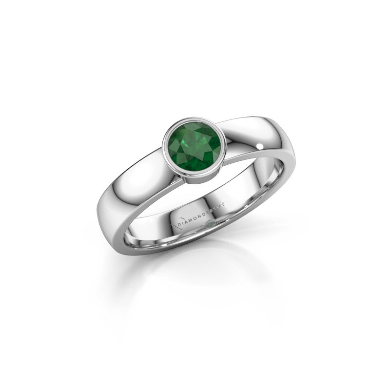 Ring Ise 1 585 white gold emerald 4.7 mm