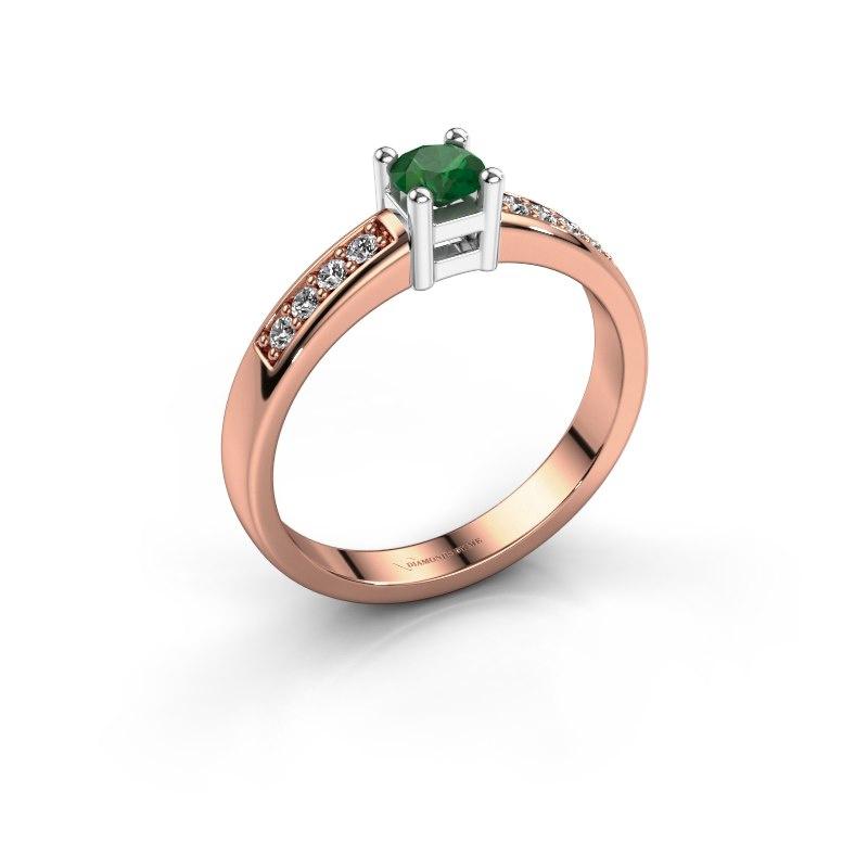 Engagement ring Eline 2 585 rose gold emerald 3.7 mm