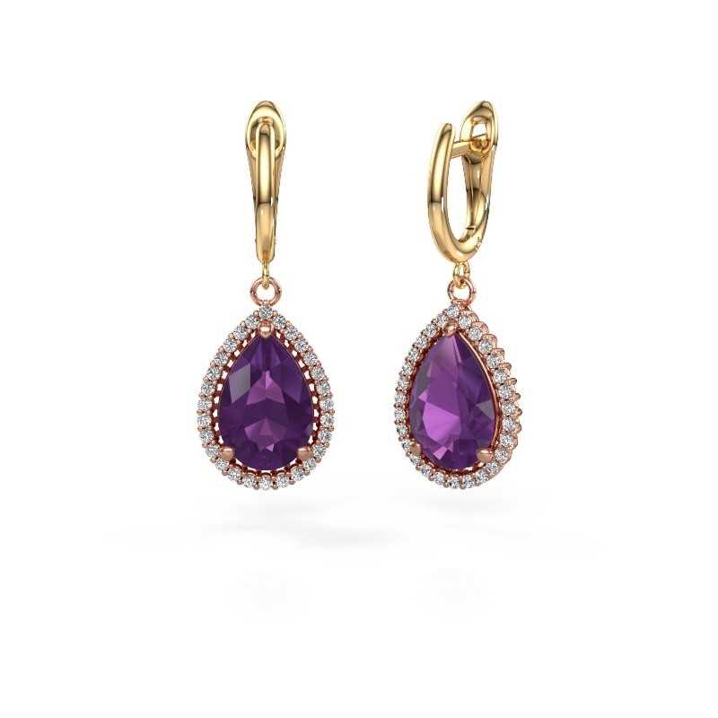 Drop earrings Hana 1 585 rose gold amethyst 12x8 mm