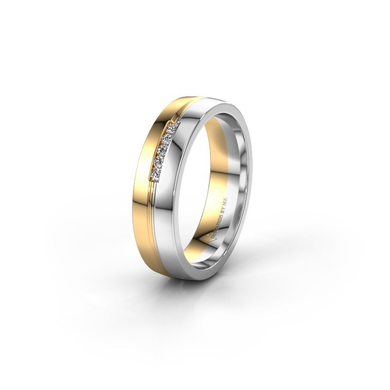 Trouwring WH0132L25B 585 goud diamant ±5x2 mm