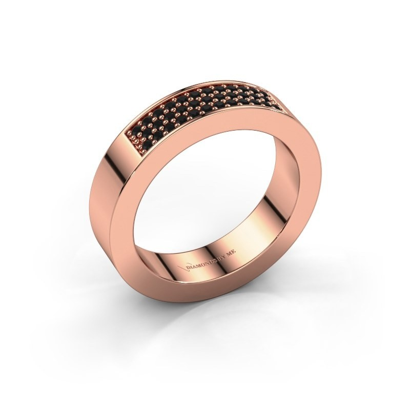 Ring Lindsey 1 375 rosé goud zwarte diamant 0.28 crt