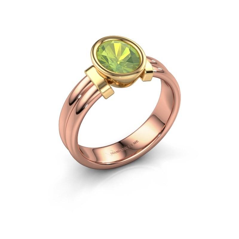 Ring Gerda 585 rose gold peridot 8x6 mm
