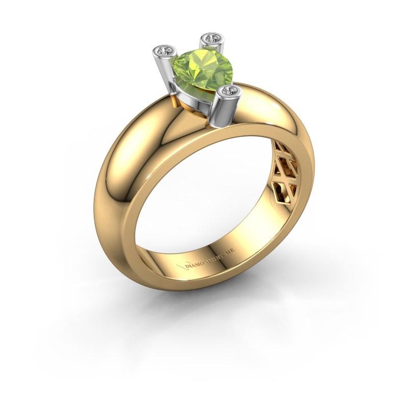 Ring Cornelia Pear 585 gold peridot 7x5 mm