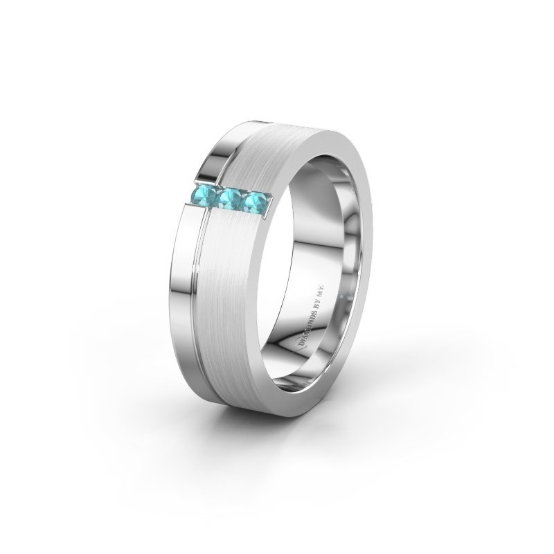 Wedding ring WH0327L16B 950 platinum blue topaz ±6x2 mm