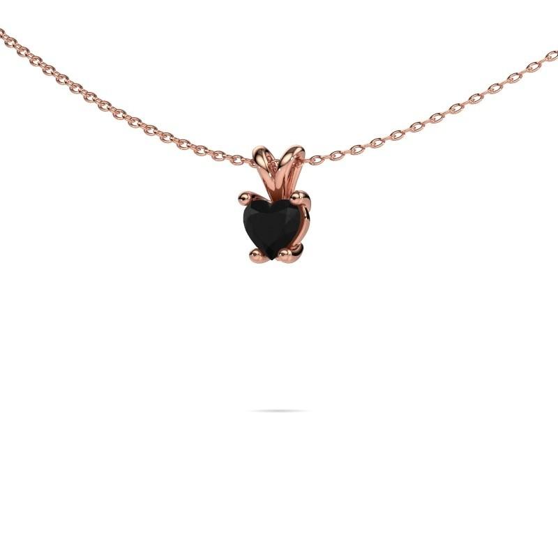 Ketting Sam Heart 375 rosé goud zwarte diamant 0.60 crt