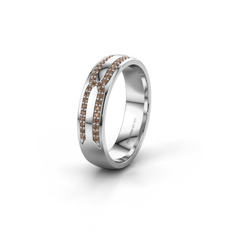 Trouwring WH2212L25AP 925 zilver bruine diamant ±5x1.7 mm