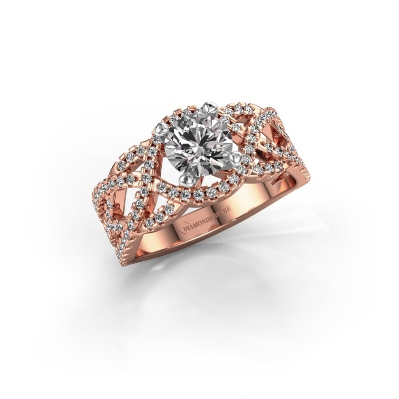 Verlovingsring Jeni 585 rosé goud zirkonia 6.5 mm