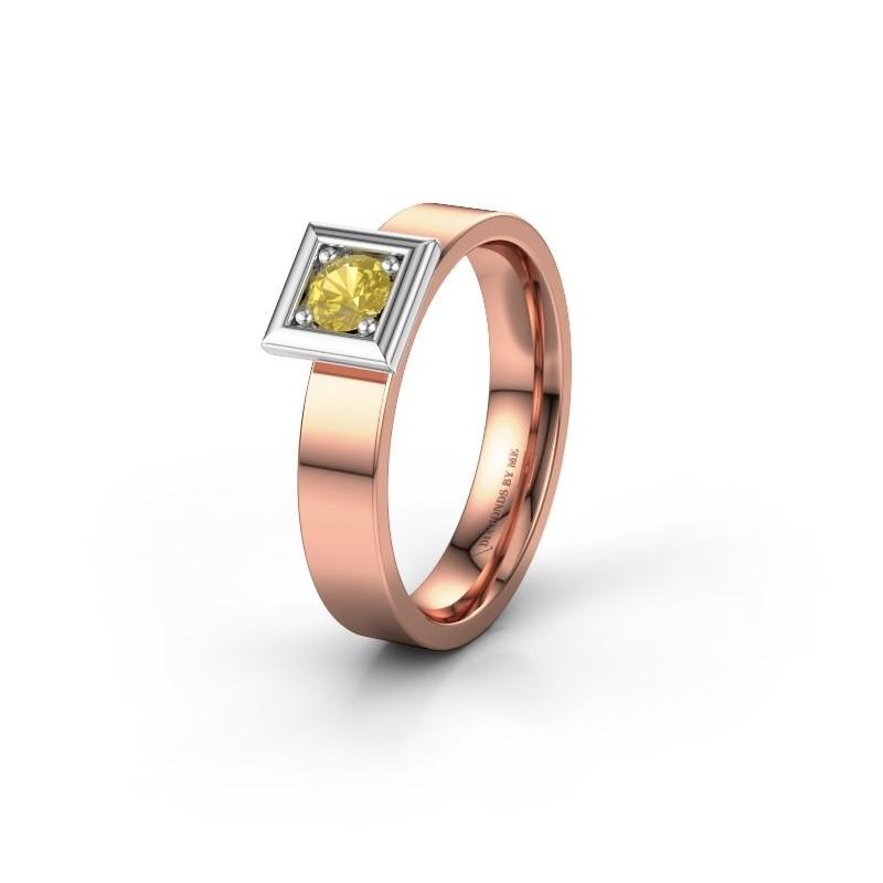 Trouwring WH2112L14A 585 rosé goud gele saffier ±4x1.7 mm
