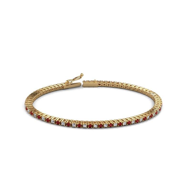 Tennisarmband Karin 2 mm 375 goud robijn 2 mm