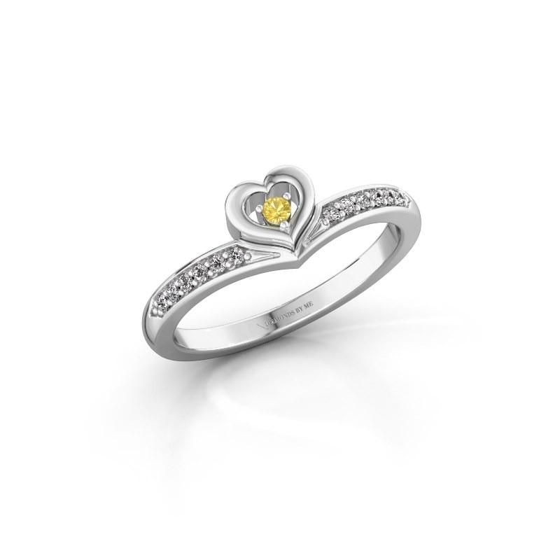 Ring Mimi 950 platina gele saffier 2 mm