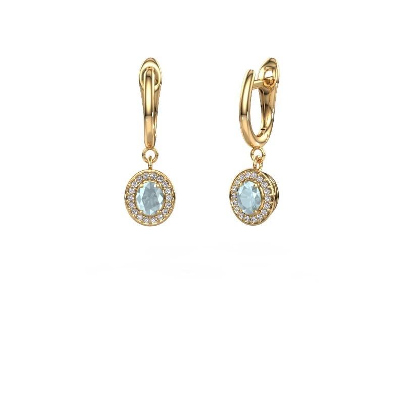 Drop earrings Nakita 375 gold aquamarine 5x4 mm