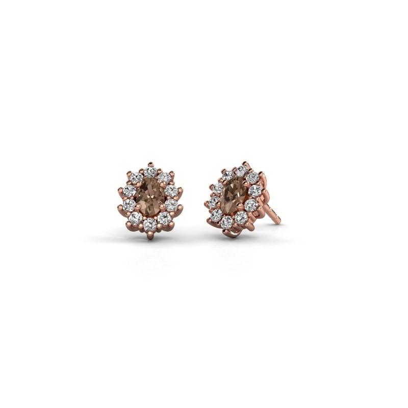 Oorbellen Leesa 375 rosé goud bruine diamant 1.60 crt