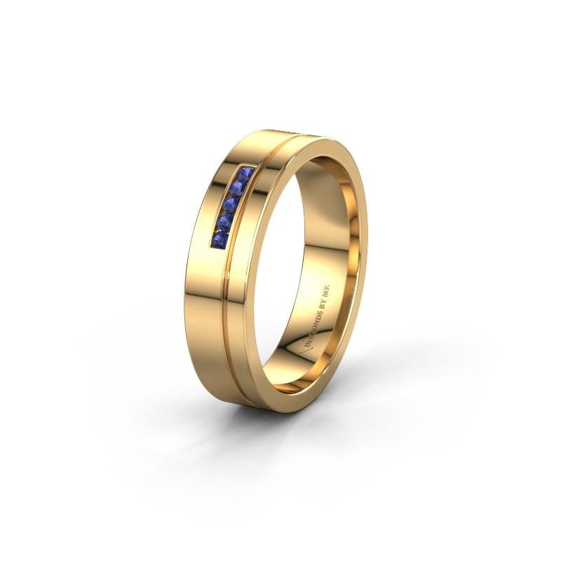 Trouwring WH0307L15AP 585 goud saffier ±5x1.7 mm