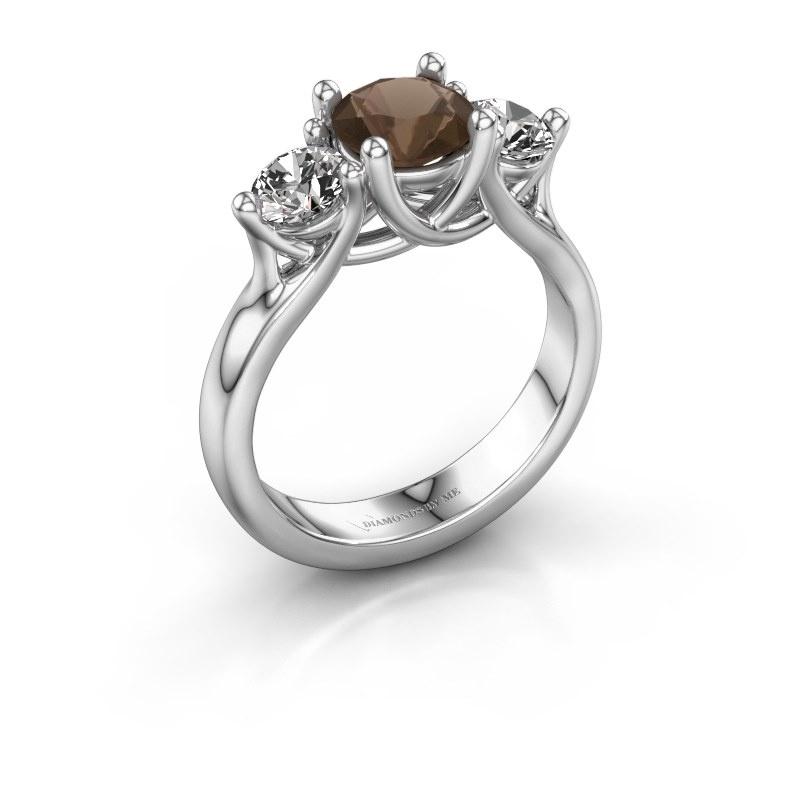 Engagement ring Esila 925 silver smokey quartz 6.5 mm