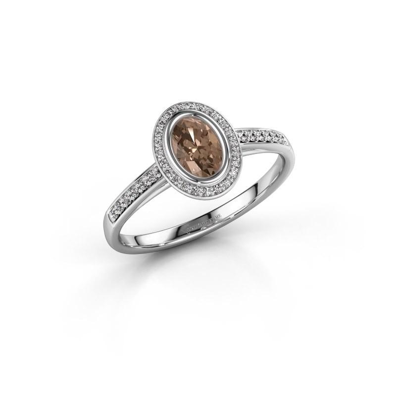 Engagement ring Noud 2 OVL 950 platinum brown diamond 0.64 crt