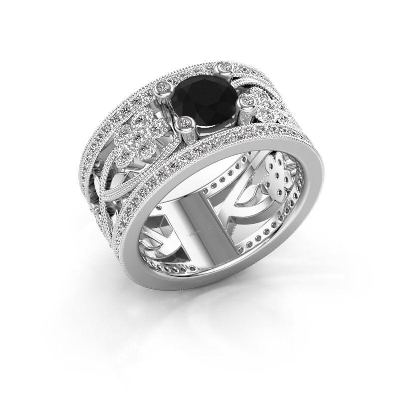 Ring Severine 585 witgoud zwarte diamant 1.565 crt