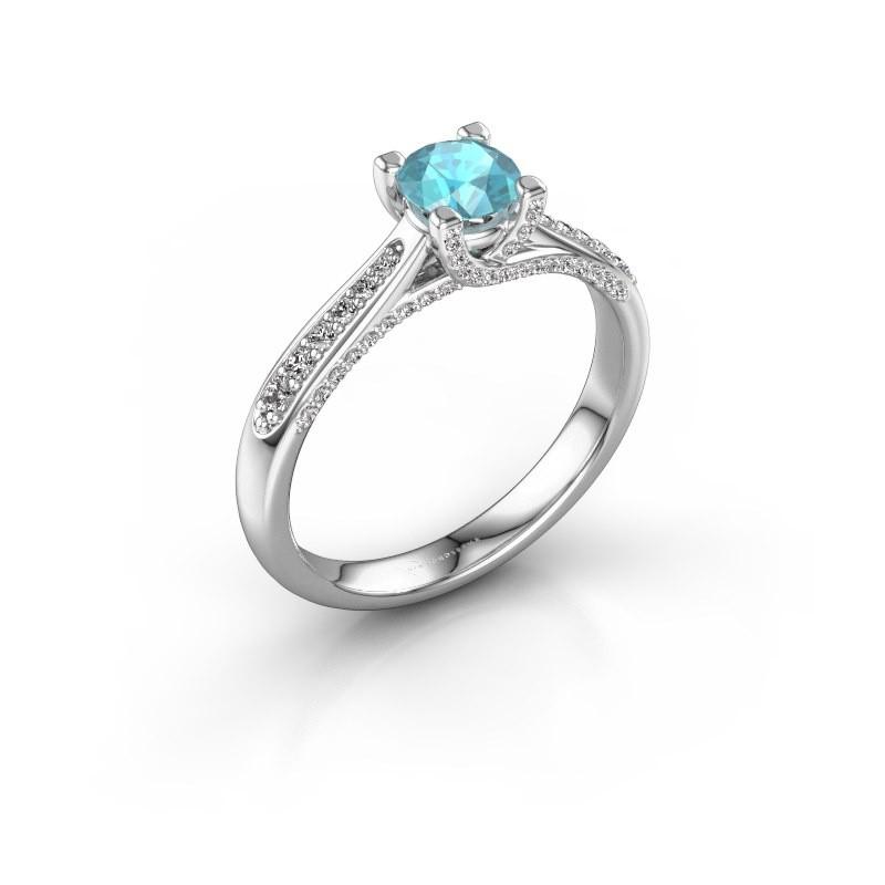 Verlovingsring Mia 3 925 zilver blauw topaas 5 mm