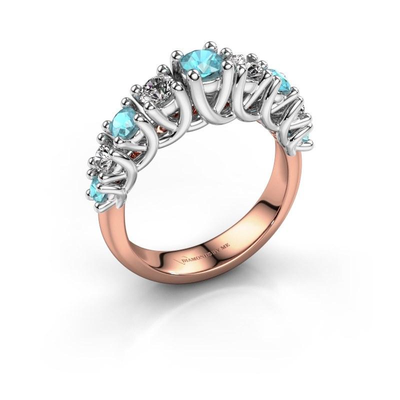 Engagement ring Fatima 585 rose gold blue topaz 3.7 mm