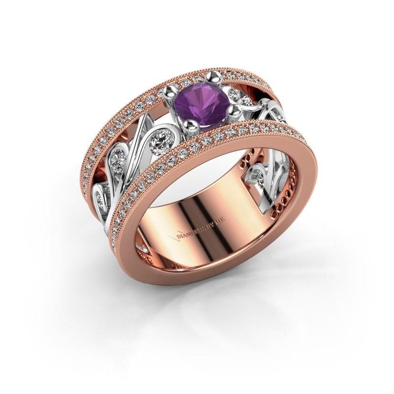 Ring Sanne 585 rosé goud amethist 5 mm