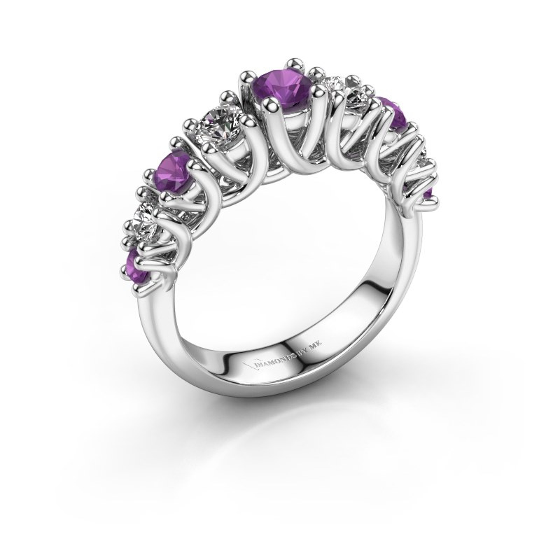 Engagement ring Fatima 585 white gold amethyst 3.7 mm