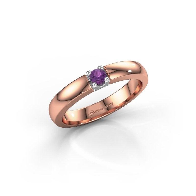 Engagement ring Rianne 1 585 rose gold amethyst 3 mm
