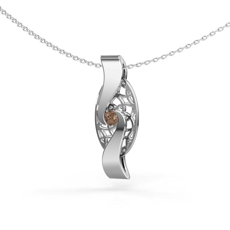 Hanger Darleen 585 witgoud bruine diamant 0.10 crt
