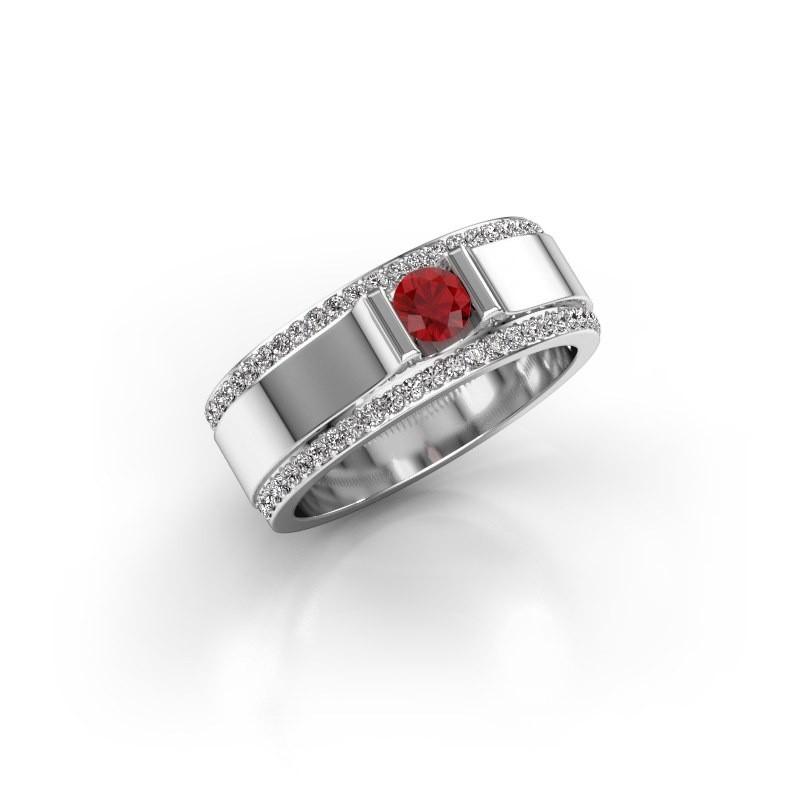 Men's ring Danillo 585 white gold ruby 4.2 mm