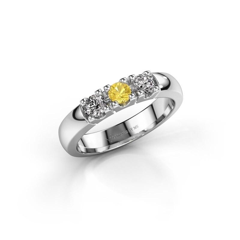 Engagement ring Rianne 3 950 platinum yellow sapphire 3.4 mm