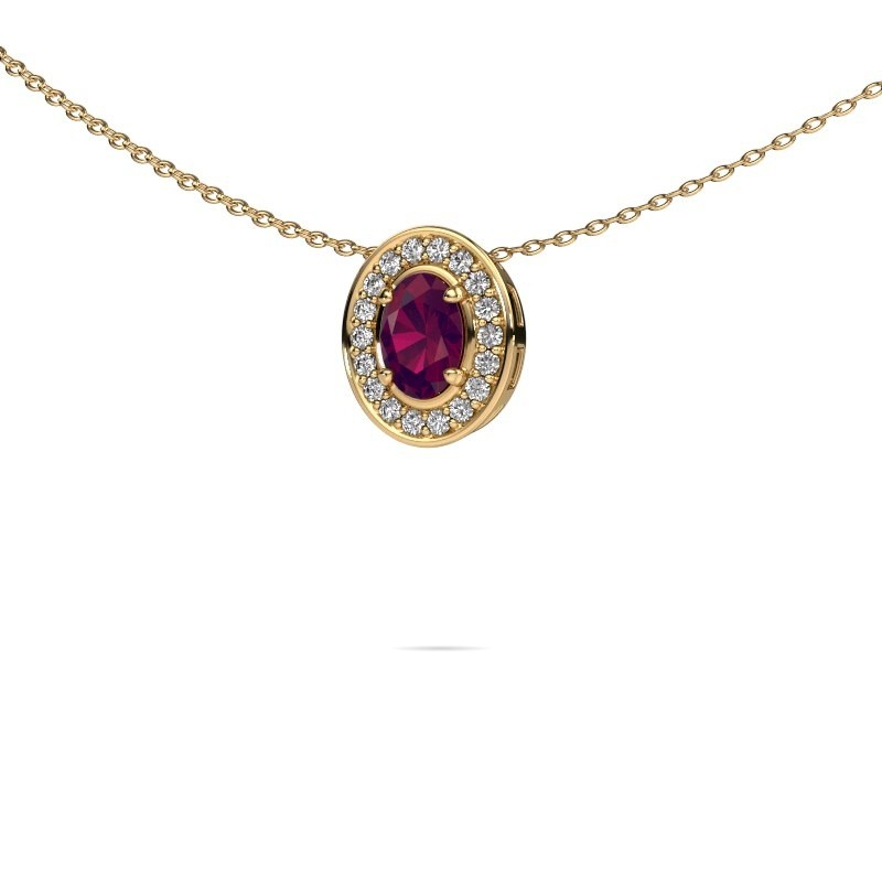 Ketting Madelon 375 goud rhodoliet 6x4 mm