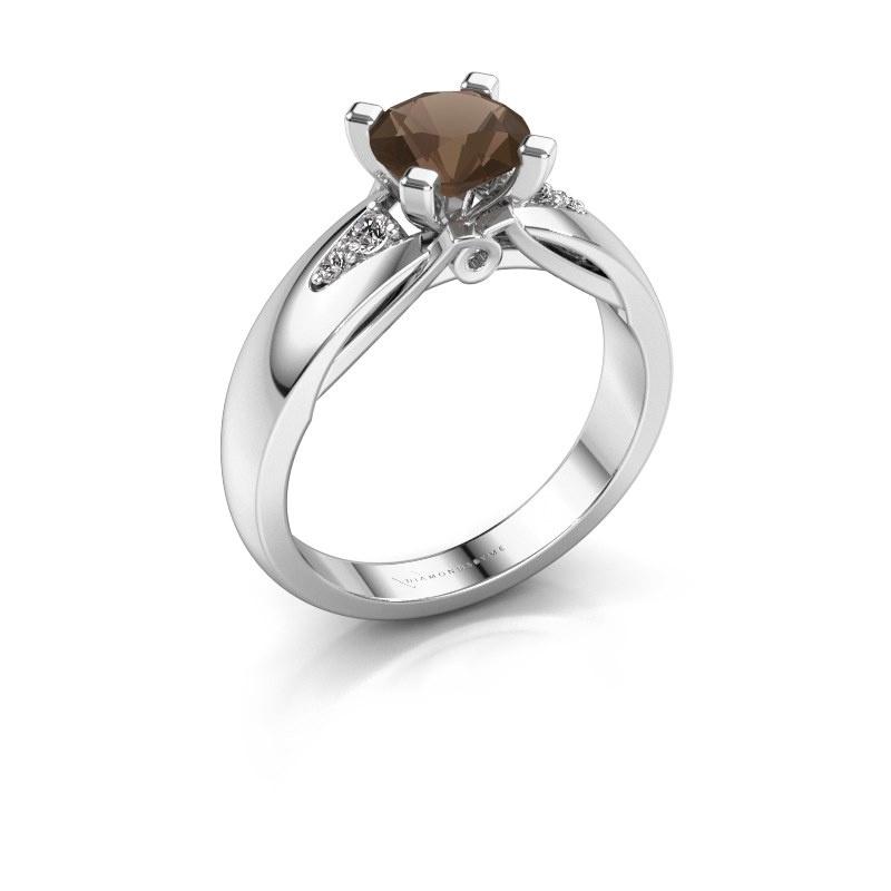 Engagement ring Ize 925 silver smokey quartz 6.5 mm