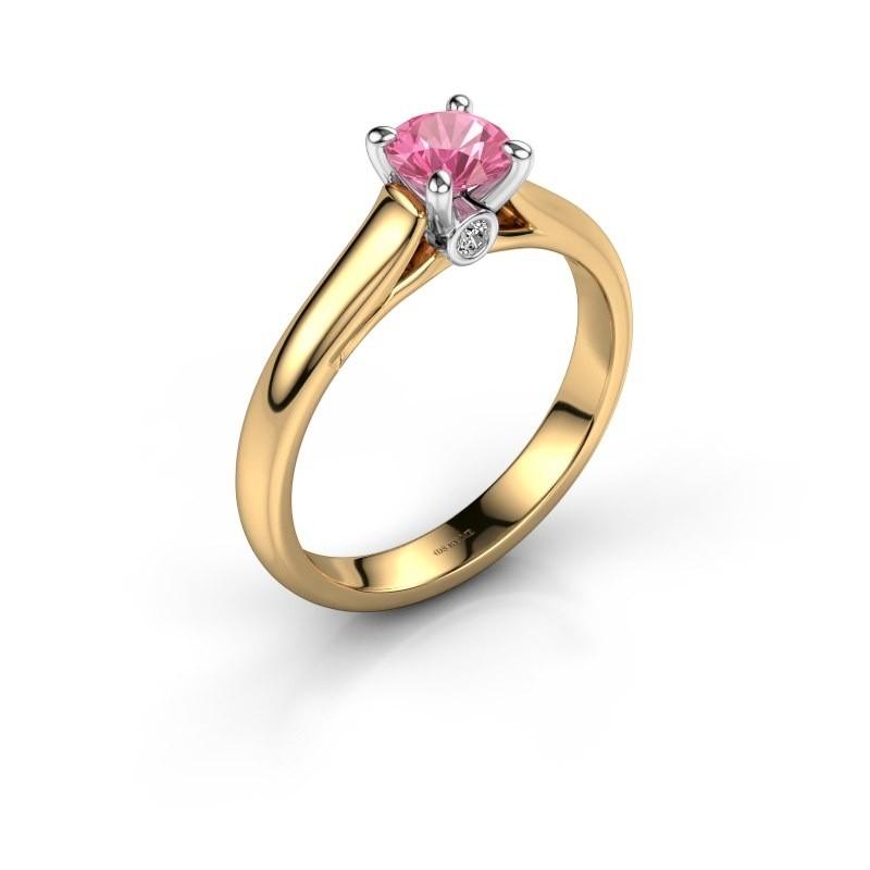 Verlovingsring Valorie 1 585 goud roze saffier 5 mm