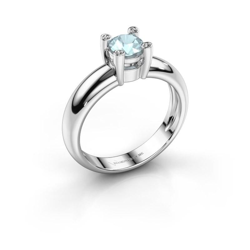 Ring Fleur 585 witgoud aquamarijn 4.7 mm