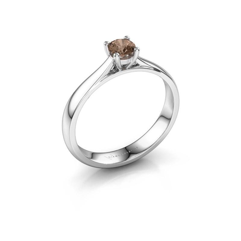 Bague de fiançailles Sam 585 or blanc diamant brun 0.30 crt