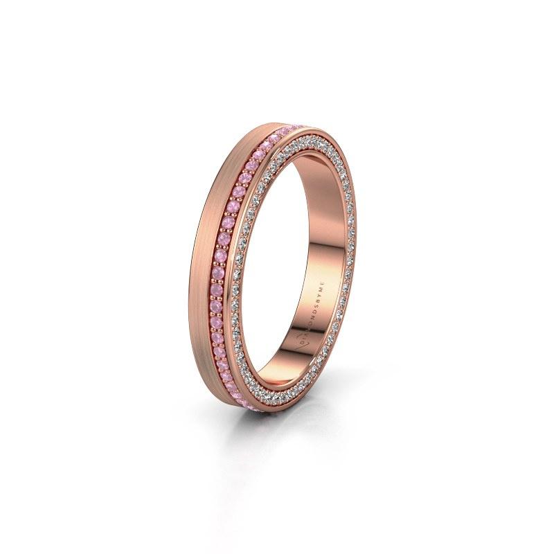 Trouwring WH2214L15BM 375 rosé goud roze saffier 1 mm ±3,5x2 mm