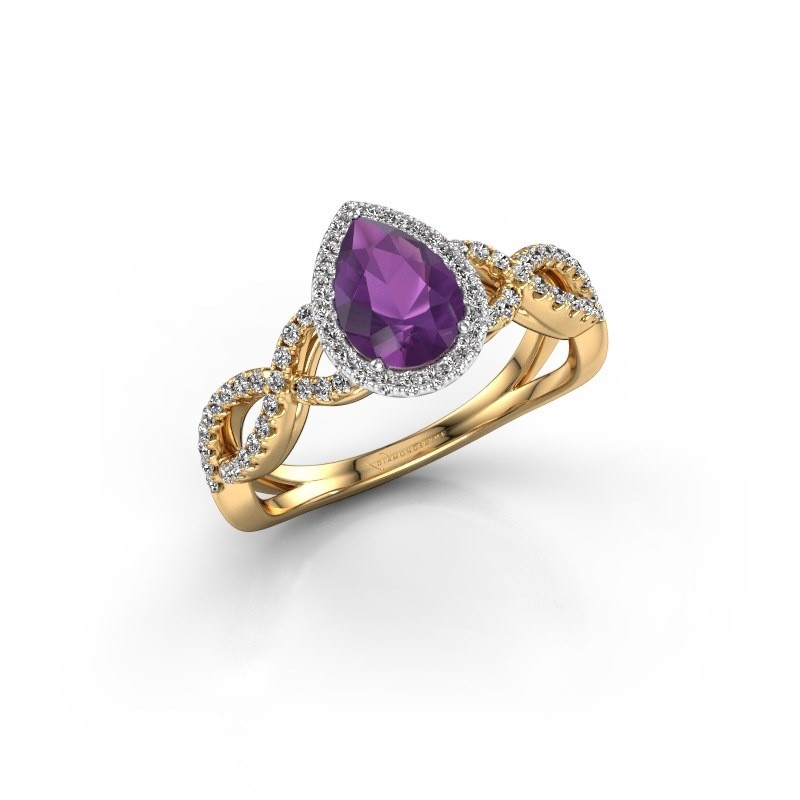 Engagement ring Dionne pear 585 gold amethyst 7x5 mm