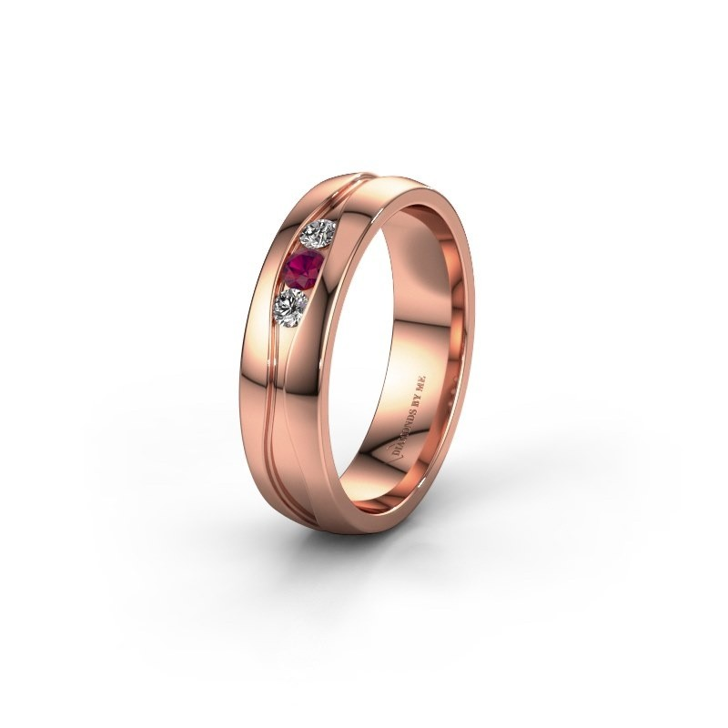 Wedding ring WH0172L25A 375 rose gold rhodolite ±0.20x0.07 in