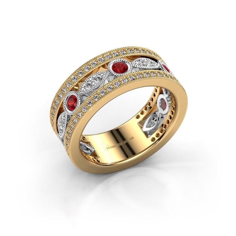 Ring Jessica 585 goud robijn 2.5 mm
