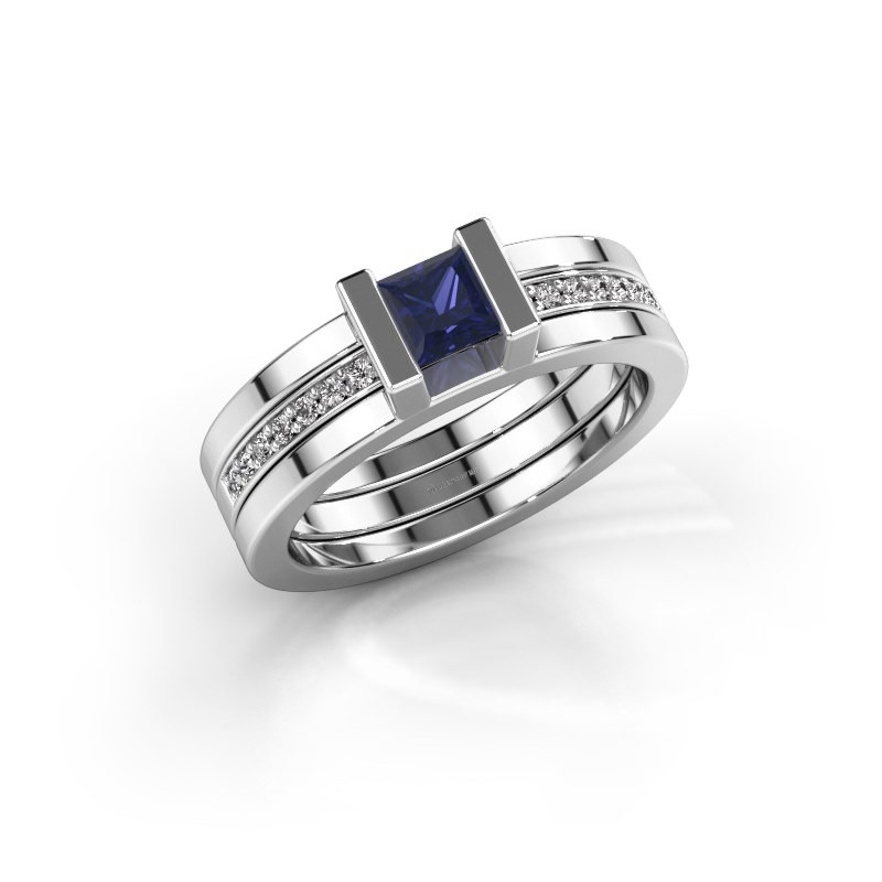 Ring Desire 585 witgoud saffier 4 mm