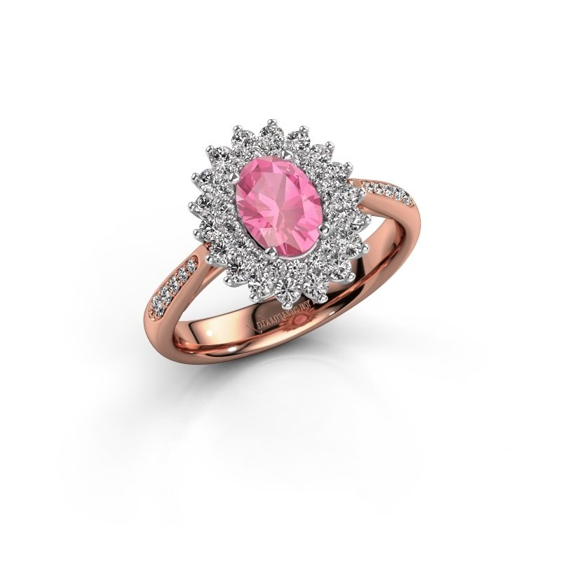 Engagement ring Alina 2 585 rose gold pink sapphire 7x5 mm